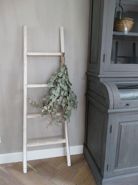 Afbeelding van Landelijke houten ladder (wit)