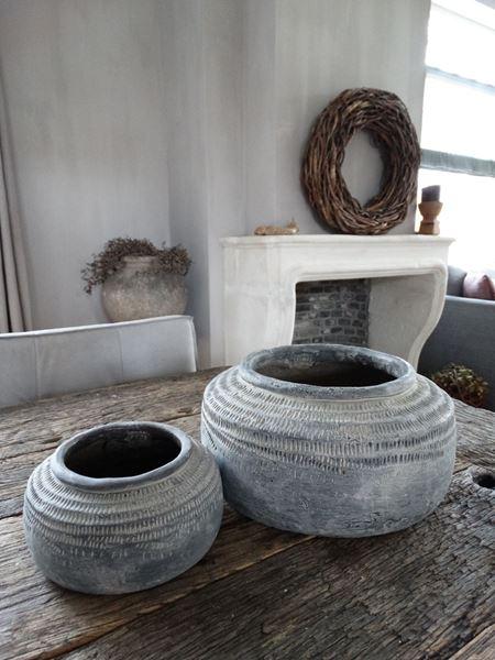 Afbeelding van Pot Nuo grey cement rond S