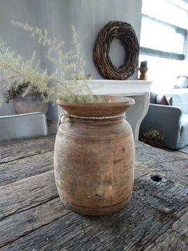Afbeeldingen van Oude Nepalese kruikpot van hout nr. 10