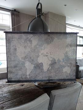 Afbeeldingen van Linnendoek wereldkaart als wanddecoratie
