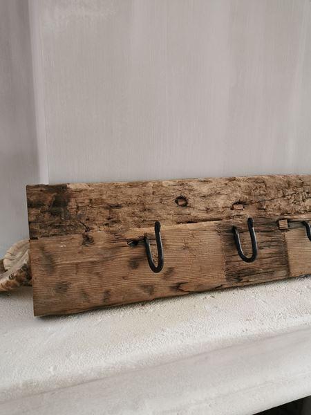 Afbeelding van Oud houten railway kapstok L