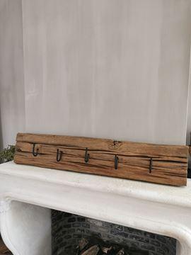 Afbeeldingen van Oud houten railway kapstok L