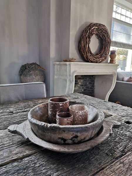 Afbeelding van Stoere houten schalen set Incl. waxinelichtjes