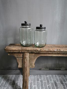 Afbeeldingen van Glazen voorraadpot met kaarshouder nr. 2