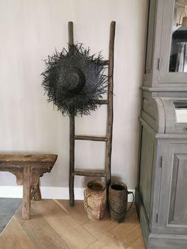 Afbeeldingen van Stoer & Stijlvol palmblad decoratie hoed zwart