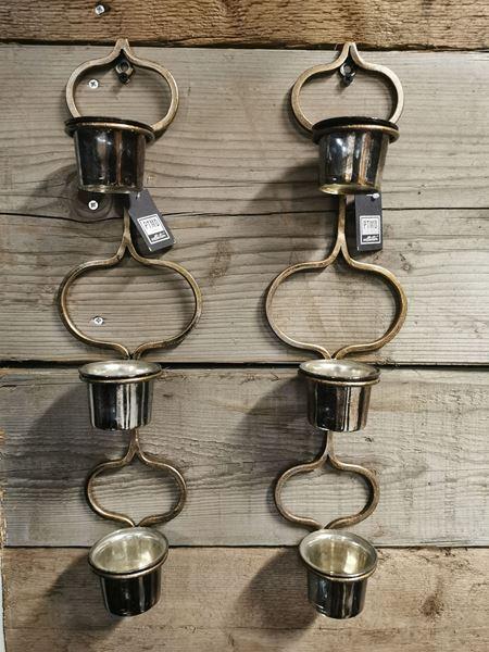 Afbeelding van Theelichtjes hanger PTMD Collection oud goud