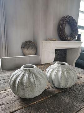 Afbeeldingen van Linny Light Green ceramic ribbed bowl - pot L