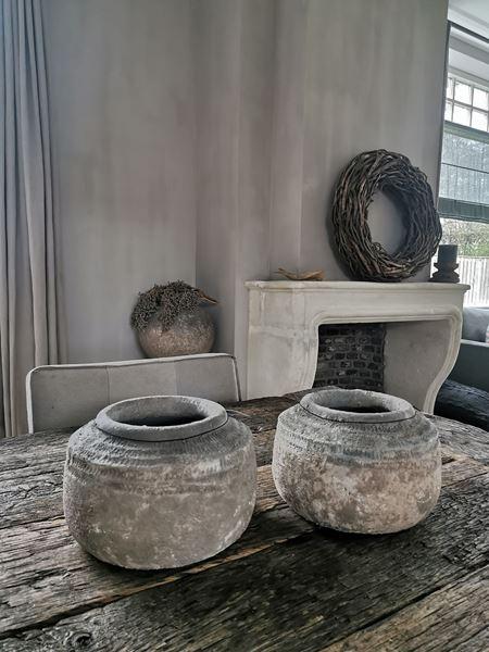 Afbeelding van Cai Old Blue ceramic pot low L