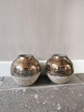 Afbeeldingen van Thriff Gold glazed ceramic vaas - pot rond L