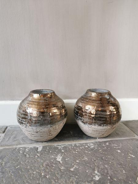 Afbeelding van Thriff Gold glazed ceramic vaas - pot rond L