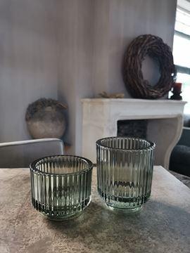 Afbeeldingen van Waxine glas ribbel groen M