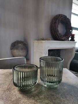 Afbeeldingen van Waxine glas ribbel groen L
