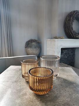 Afbeeldingen van Waxine glas ribbel cognac M