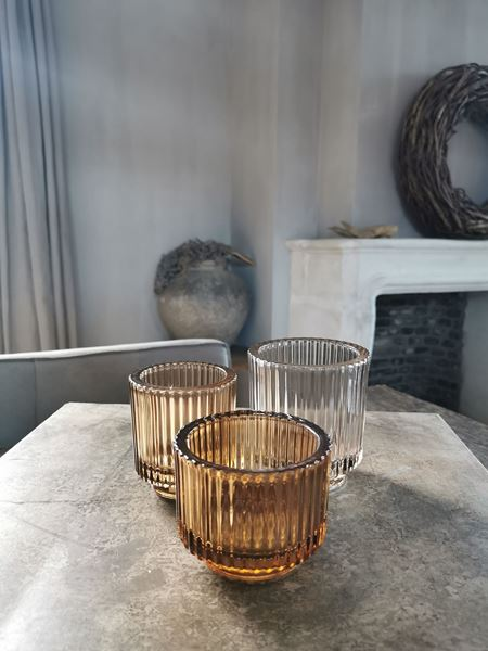 Afbeelding van Waxine glas ribbel cognac M