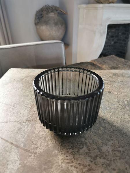 Afbeelding van Waxine glas ribbel zwart M