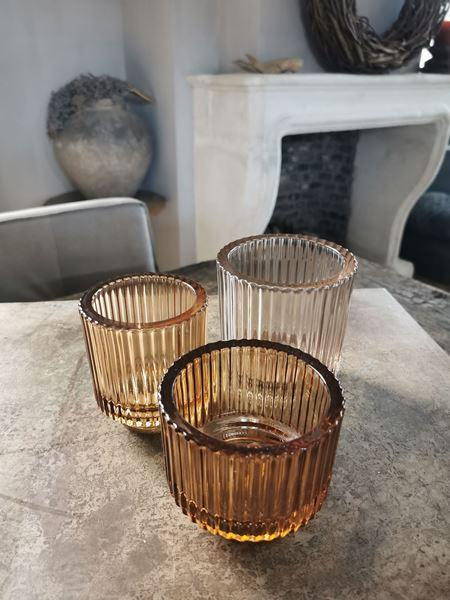 Afbeelding van Waxine glas ribbel cognac S