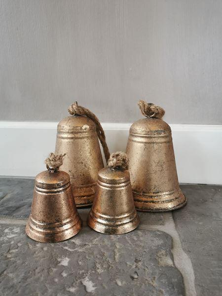 Afbeelding van Decoratie bel koper goud m