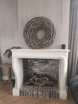Afbeeldingen van Grote wortel krans 65 cm white wash
