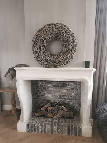 Afbeelding van Grote wortel krans 65 cm white wash