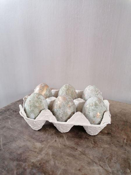 Afbeelding van Decoratie eieren in doosje groen goud
