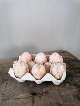 Afbeeldingen van Decoratie eieren in doosje roze goud