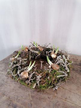 Afbeeldingen van Voorjaars krans met bonsai en bolletjes