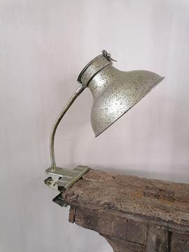 Afbeeldingen van Bureau lamp met klem antiek groen