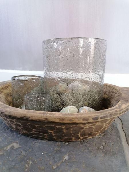 Afbeelding van Robuust windlicht vintage bubbel glas XL