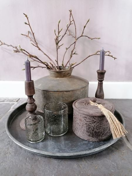 Afbeelding van Oude metalen waterpot - kruikpot  recht nr 1