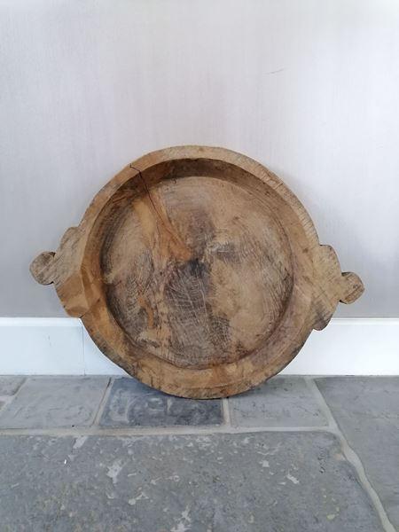 Afbeelding van Oud houten schaal met handvatten nr. 2
