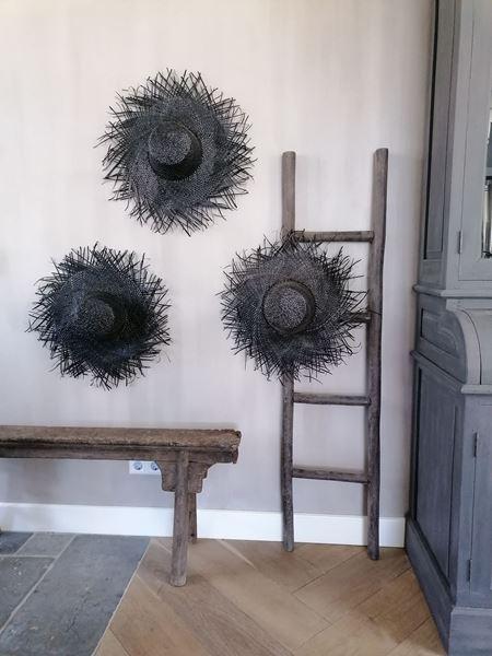 Afbeelding van Stoer & Stijlvol palmblad decoratie hoed zwart