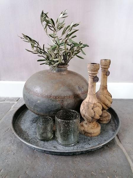 Afbeelding van Oude metalen waterpot - kruikpot rond nr 3