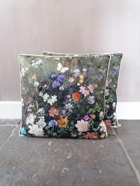 Afbeelding van Stoer & Stijlvol velvet kussen bloemenprint