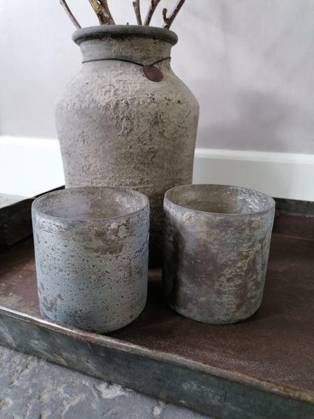 Afbeelding van Stoer & Stijlvol waxinelichtje grijs rond