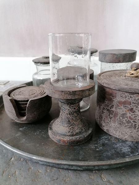 Afbeelding van Waxine glas op voet vintage grey