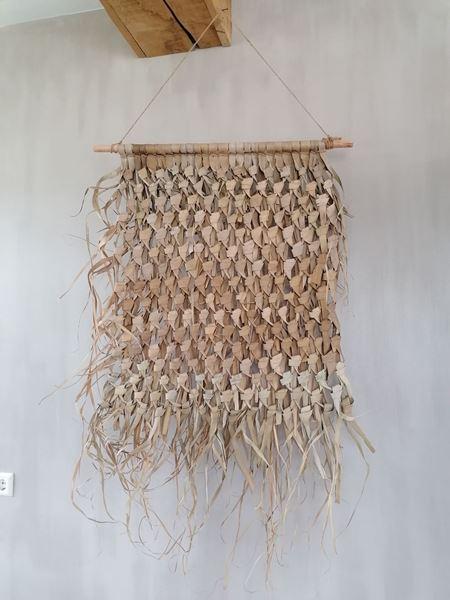 Afbeelding van Stoer & Stijlvol gevlochten palmblad wandkleed