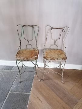 Afbeeldingen van Originele oude bistro stoel uit India nr 2