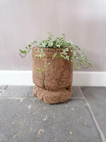Afbeelding van Grote oud houten vijzel pot XL